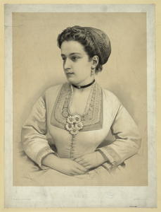 Lady With Floral Brooch And Earrings Image