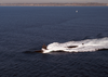 A Los Angeles Class Fast-attack Submarine Steams Along On The Surface Of The Pacific Ocean. Image