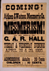 Coming! Aitken & Watson Mesmeric Co. Will Commence A Series Of Entertainments In Mesmerism! To Be Held In G.a.r. Hall, Attleboro, Mass. On Tuesday & Wednesday Evenings, April 28 & 29, 1885. Image
