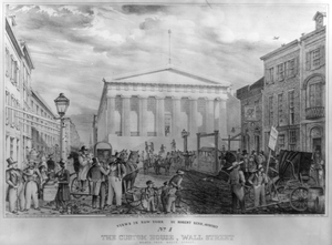 Views In New York By Robert Kerr, Architect. No. 1, The Custom House, Wall Street Viewed From Broad Street Image