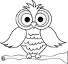 Wise Owl With Big Eyes On A Tree Limb In Black And White Smu Image