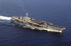An Aerial View Of Uss Kitty Hawk (cv 63) En Route To The 5th Fleet Area Of Operations Image