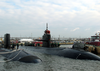 The Los Angeles Class Attack Submarine Uss Jacksonville (ssn 699), Right, Moors Alongside Uss Hampton (ssn 767). Image