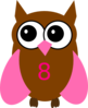 Pink Owl Olivia Birthday 8 Clip Art