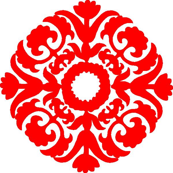 Red Damask Ornament Clip Art At Clker Com Vector Clip