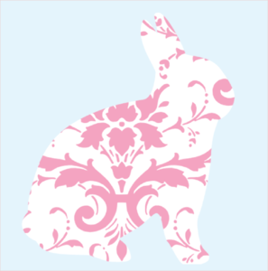 Pink Damask Rabbit With Blue Background Clip Art