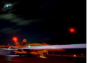 An F/a-18 Hornet Assigned To The  Gunslingers  Of Strike Fighter Squadron One Zero Five (vfa-105) Launches From One Of Four Steam Driven Catapults On The Flight Deck Of Uss Harry S. Truman (cvn 75). Image