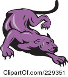 Royalty Free Rf Clipart Illustration Of A Stalking Purple Panther Image