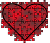 Heart Puzzle With Red Black Gradient Clip Art
