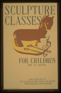 Sculpture Classes For Children Now In Session Under Direction Of Art Teaching Division, Federal Art Project, Works Progress Administration. Image