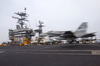 An F/a-18 Hornet Makes An Arrested Landing On The Flight Deck Aboard Uss Harry S. Truman (cvn 75) Image