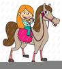 Girl Riding A Horse Clipart Image