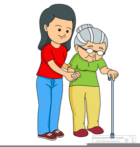 Helping Elderly Woman Clipart Image