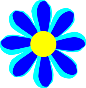Flower Cartoon Blue Clip Art