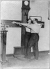 [new York City Police Dept. Activities: Taking Bertillon Measurements--armspan] Image