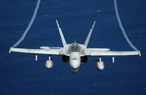 An F/a-18 Hornet Assigned To The Mighty Shrikes Of Strike Fighter Squadron Ninety Four (vfa-94), Flies Over The Western Pacific Ocean During Flight Operations Aboard Uss Nimitz (cvn 68) Image