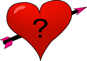Valentine Heart Arrow With Question Mark Clip Art