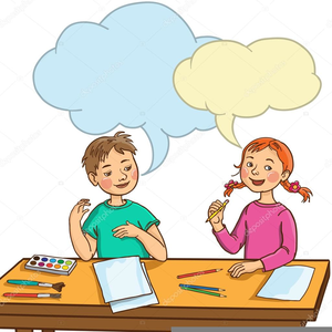 two kids talking clipart free images at clkercom