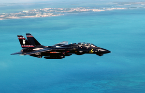 An F-14  Tomcat  Heads Back To Key West Naval Air Station (nas) After Intense  Dog Fight  Training Over The Atlantic Ocean During Exercise Cope Snapper 2002. Image