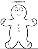 Gingerbread Clipart Black White Image
