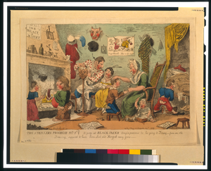 The Strollers Progress Plte 1st. A Peep At Black Jack S Origin Previous To His Going To Douay [...]  / Cruikshank, Invt. Image