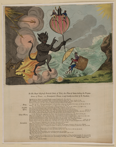To His Royal Highness Fredrick Duke Of York, This Plate Of Satan Holding Th Prepondrence Of Power; Or, Bounaparte S Threat, Is Most Humbly Inscribed, By E. Sanders Image