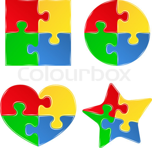 Vector Shapes Of Jigsaw Puzzle Pieces Image