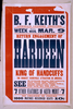 Return Engagement Of Hardeen, King Of Handcuffs The Biggest Vaudeville Attraction In America. Image
