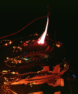 Night Launch Aboard Cvn 74 Image