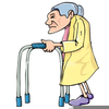 Old Lady Walker Clipart Image
