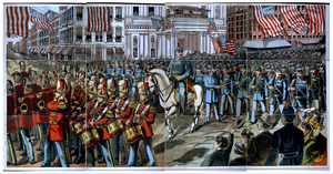 [union Soldiers And Band Marching Through A City Street On Their Way To Join The Civil War] Image