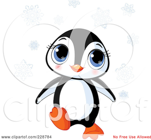Illustration Of A Cute Baby Penguin With Snowflakes Image