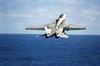 An F-14d Tomcat Assigned The Bounty Hunters Fighter Squadron Two (vf-2) Launches From The Aircraft Carrier Uss Constellation (cv 64) Towing A Tdu-32b/b Aerial Banner Tow Target. Image