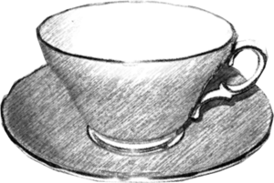 Teacup Black And White Image