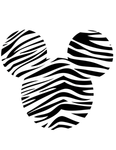 Minnie Head Zebra Black White Image