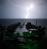 Lightning Strikes Light Up The Bow Of Uss Abraham Lincoln Image