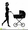 Woman Pushing Stroller Clipart Image