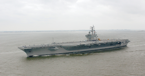 Uss Ronald Reagan (cvn 76) Steams Through The Atlantic Ocean For The First Time As A Commissioned Ship Image