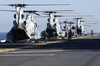 Three Ch-46 Sea Knight Helicopters Prepare To Launch From The Flight Deck Aboard Uss Wasp (lhd 1) Image