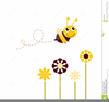 Honeybee And Flowers Clipart Image