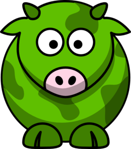 Green Cow 2 Clip Art