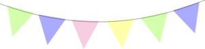 Pink Yellow Green Baby Blue Bunting2 Clip Art