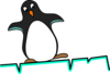 Wobbling Penguin On Ice Clip Art