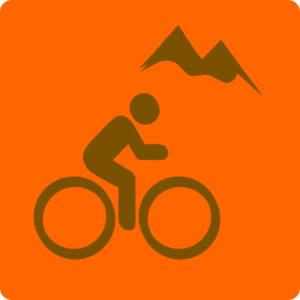 Mountain Biker Sign Orange Clip Art