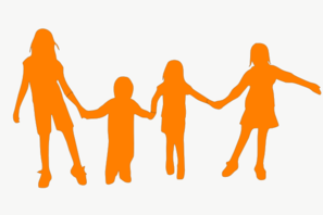 Kids Holding Hands Orange Clip Art