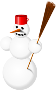 Snowman With Stick Clip Art