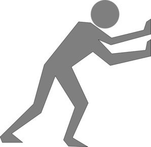 Man Pushing Grey Clip Art
