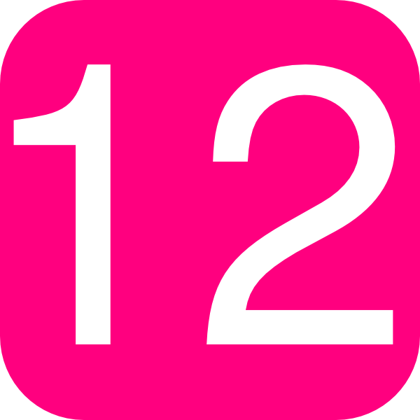 Hot Pink, Rounded, Square With Number 12 clip art