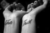 Feminine Black Words Tattoo Saying Quotmakequot And Quotbelievequot On Young Image