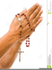 Praying Hands With Rosary Clipart Image